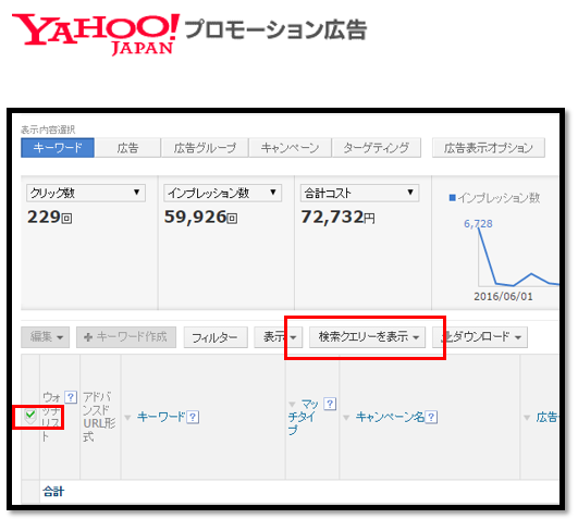 Yahoo!プロモーション広告 検索クエリの確認