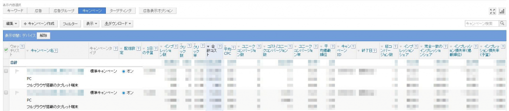 Yahoo デバイス毎に結果が表示