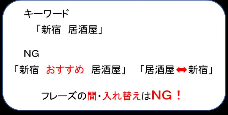 フレーズ一致 NG